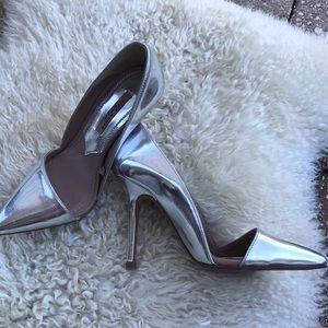 Zara patent silver high heels